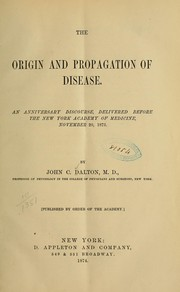 Cover of: The origin and propagation of disease