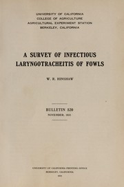 Cover of: A survey of infectious laryngotracheitis of fowls