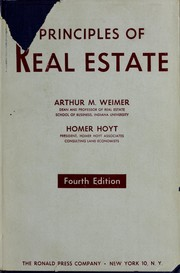 Cover of: Principles of real estate | Arthur Martin Weimer