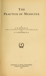 Cover of: The practice of medicine | Nicks, Archie M.