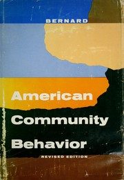Cover of: American community behavior