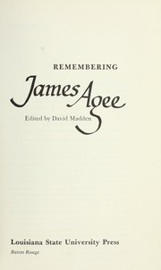 Cover of: Remembering James Agee