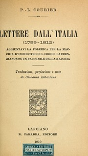 Cover of: Lettere dall'Italia (1799-1812)