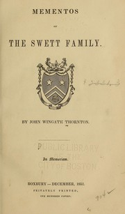 Cover of: Mementos of the Swett family | Thornton, John Wingate