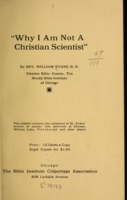 "Cover of: ""Why I am not a Christian scientist..."