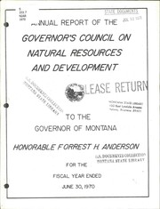 Cover of: Annual report of the Governor's Council on Natural Resources and Development