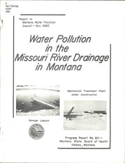 Cover of: Water pollution in the Missouri River drainage in Montana