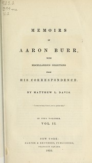 Cover of: Memoirs of Aaron Burr