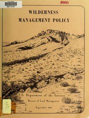 Cover of: Wilderness management policy