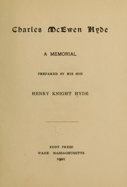Cover of: Charles McEwen Hyde | Henry Knight Hyde