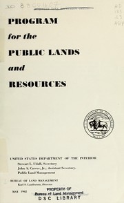 Cover of: Program for the public lands and resources