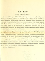 Cover of: An act relative to prisoners of war