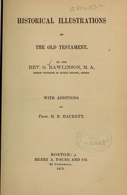 Cover of: Historical illustrations of the Old Testament...