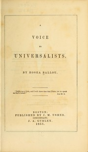 Cover of: A voice to Universalists