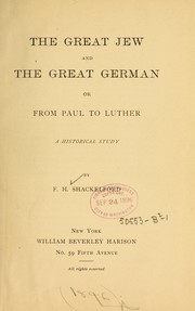 Cover of: The great Jew and the great German | F. Shackelford