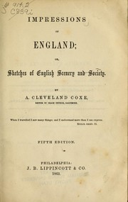 Cover of: Impressions of England, or, Sketches of English scenery and society