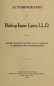 Cover of: Autobiography of Bishop Isaac Lane, LL. D. | Isaac Lane