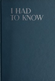 Cover of: I had to know. | Gladys Baker
