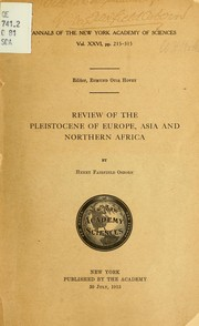 Cover of: Review of the Pleistocene of Europe, Asia and northern Africa