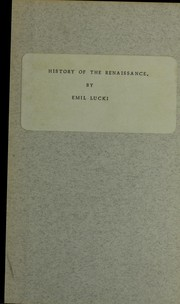 Cover of: History of the Renaissance