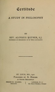 Cover of: Certitude | Aloysius Joseph Rother
