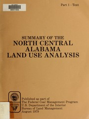 Cover of: Summary of the North Central Alabama land use analysis