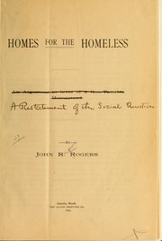 Cover of: Homes for the homeless