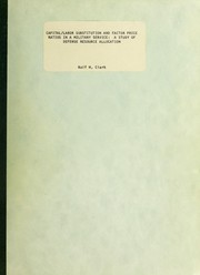 Cover of: Capital/labor substitution and factor price ratios in a military service