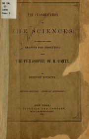 Cover of: The classification of the sciences