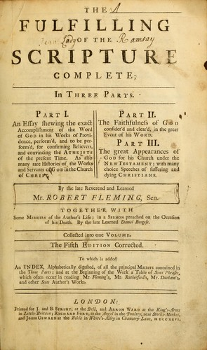 Fulfilling of the Scripture by Fleming, Robert