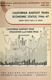 Cover of: California Bartlett pears economic status, 1946-47