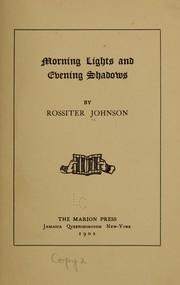 Cover of: Morning lights and evening shadows [poems]