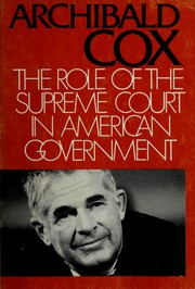 Cover of: The role of the Supreme Court in American government