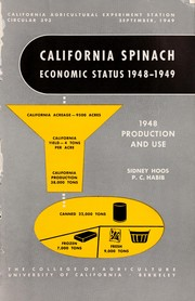 Cover of: California spinach economic status, 1948-1949
