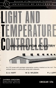 Cover of: Light and temperature controlled housing for poultry | S. A. Hart