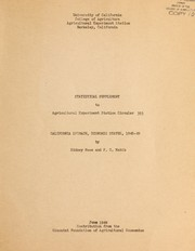 Cover of: Statistical supplement to Agricultural Experiment Station circular 393