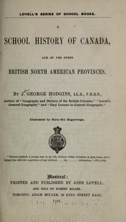 Cover of: A school history of Canada, and of the other British North American provinces