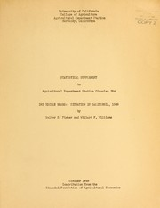 Cover of: Statistical supplement to Agricultural Experiment Station circular 394 | Walter Dummer Fisher
