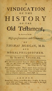 Cover of: A vindication of the history of the Old Testament