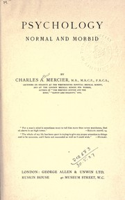 Cover of: Psychology, normal and morbid