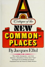Cover of: A critique of the new commonplaces
