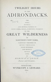 Cover of: Twilight hours in the Adirondacks | Homer De Lois Sweet