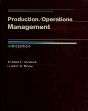 Cover of: Production/operations management | Thomas E. Hendrick
