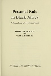 Cover of: Personal rule in Black Africa