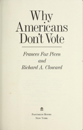 Why Americans don't vote
