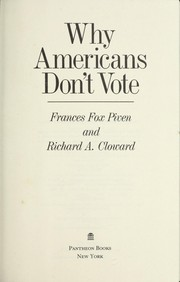 Cover of: Why Americans don't vote