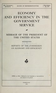 Cover of: Economy and efficiency in the government service | United States. President