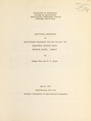 Cover of: Statistical supplement to Agricultural Experiment Station circular 368