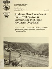 Cover of: Andrews plan amendment for recreation access surrounding the Steens Mountain Loop Road
