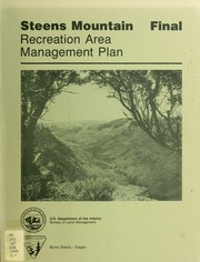 Cover of: Recreation area management final plan for the Steens Mountain Recreation Lands, Oregon